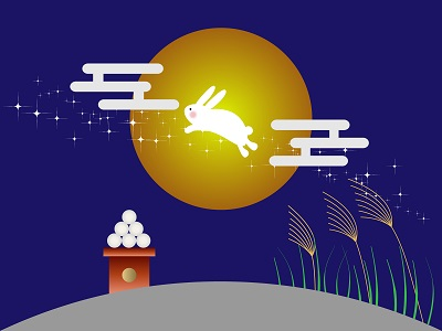 月とウサギの絵